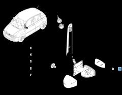 Rétroviseur extérieur gauche, manuel, avec capteur de température