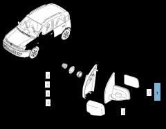 Rétroviseur gauche pour Fiat Panda