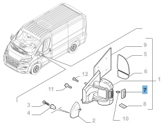Clignotant latéral sur rétroviseur droit pour Fiat et Fiat Professional