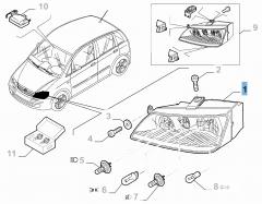 Projecteur avant droit avec antibrouillard pour Fiat et Fiat Professional