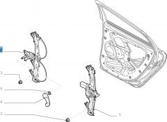 Lève-vitre manuel arrière droit pour Fiat et Fiat Professional