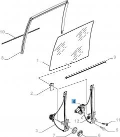 Lève-vitre électrique adapté à la porte coulissante latérale droite