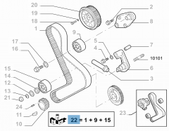 Kit de distribution (courroie, tendeur de courroie fixe et réglable) - 3 pc pour Fiat Professional Ducato