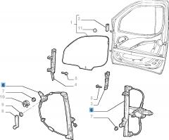 Lève-vitre mécanique avant droit pour Fiat et Fiat Professional