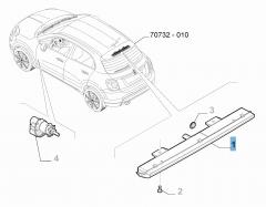 Feu arrière, troisième feu stop sur support de roue de secours pour Fiat 500X