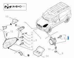Antibrouillard gauche pour Fiat et Fiat Professional