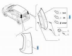 Feu arrière droit fixe pour Fiat et Fiat Professional