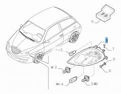 Projecteur avant droit pour Lancia Ypsilon