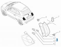 Feu arrière droit fixe pour Fiat 500