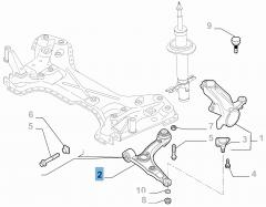 Bras oscillant gauche de suspension avant pour Fiat et Fiat Professional