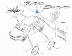 Sigle modèle Bravo arrière pour Fiat Bravo