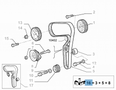Kit de distribution (courroie, tendeur de courroie fixe et réglable) - 3 pc