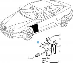 Aile avant droite pour Alfa Romeo GTV et Spider