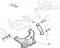 Bras oscillant gauche de suspension arrière pour Fiat et Fiat Professional