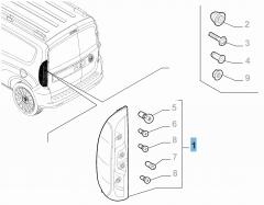 Feu arrière gauche fixe pour Fiat Professional Doblo FL2015