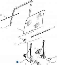 Lève-vitre manuel adapté à la porte coulissante latérale gauche