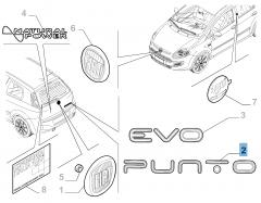 Sigle modèle Punto arrière pour Fiat Punto Evo