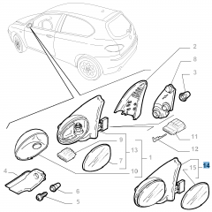 Rétroviseur droit pour Alfa Romeo 147