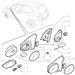 Rétroviseur électrique droit pour Alfa Romeo 147