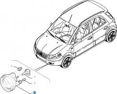Antibrouillard avant droit pour Fiat Sedici