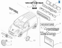 Sigle modèle Qubo arrière pour Fiat Professional
