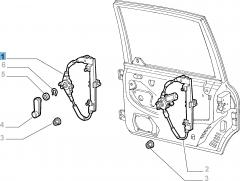Lève-vitre manuel arrière gauche pour Fiat et Fiat Professional